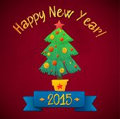 Merry Christmas and Happy New Year Tree Card