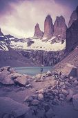 Retro Filtered Picture Of Torres Del Paine National Park.