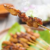 picture of sate  - Tasty chicken sate or satay - JPG