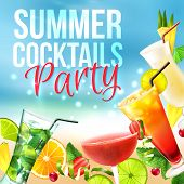 picture of pina-colada  - Cocktail party summer poster with alcohol drinks in glasses on blue background vector illustration - JPG