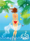 Woman In Bikini Swimwear At Tropical Beach With Palm Tree Leaves And Butterflies On Background. I Lo