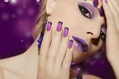 Purple French manicure and makeup.