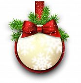 Christmas round gift card with red ribbon and satin bow. Vector illustration.