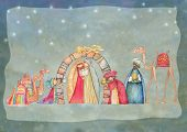 stock photo of nativity scene  - Illustration of Christian Christmas Nativity scene with the three wise men - JPG