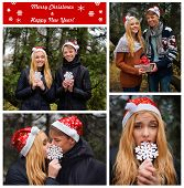 Merry Christmas postcard. Happy young couple in love wearing Santa hats kissing and holding a big sn