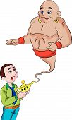 pic of genie  - Man Summoning a Genie From a Magic Lamp vector illustration - JPG