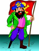 Pirate Holding A Flag, Illustration