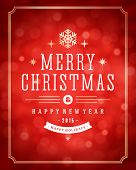 Christmas red bokeh light vector background. Greeting card design or invitation and holidays wishes.