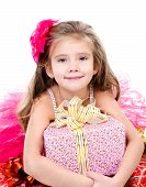 Adorable Little Girl With Christmas Gift Boxes