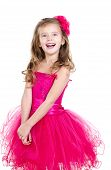 Adorable Happy Little Girl In Princess Dress Isolated