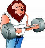 Half-man Half-lion Bodybuilder, Illustration