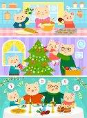 cats family on Christmas