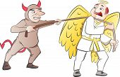Tug-of-war Between A Devil And An Angel, Illustration