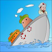 Ship Sinking With Captain, Illustration