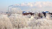 Winter cityscape. Frosty December.