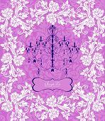 Vintage Invitation Card With Ornate Elegant Floral Design