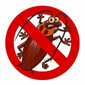 image of cockroach  - Anti pest sign with a funny cartoon cockroach - JPG
