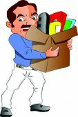 Vector Of Man Carrying Carton Full Of Office Supplies.