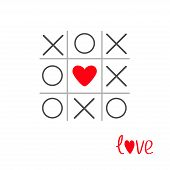Tic Tac Toe Game With Cross And Heart Sign Mark In The Center  Love Card Flat Design