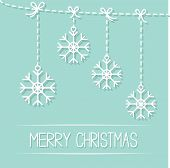 Four Hanging Snowflakes With Dash Line Bows On Blue. Merry Christmas Card. Flat Design