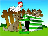 image of hen house  - Vector illustration of curious dog squirrel and hen next to a house with bone in foreground - JPG