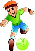 Boy Playing Soccer, Illustration