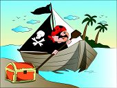 Vector Of Pirate's Boat And Treasure Chest At Riverbank.