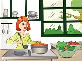Vector Of Woman Cooking Food.