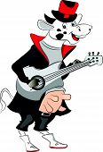 Vector Of Cow Playing Guitar.
