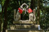 Two fox statue's head fit (Inari messenger of God)  at the Fushimi-Inari Taisha, Kyoto, Japan