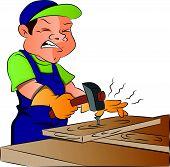 Vector Of Carpenter Nailing Nail Into Wooden Plank.