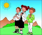Vector Of Children Praying Before Sun.