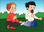 pic of tease  - Vector illustration of a boy teasing his friend for ice cream - JPG