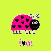 Cute Cartoon Pink Lady Bug With Dots In Shape Of Heart. Green Ba