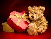 A Teddy Bear Hugging A Heart Shaped Box
