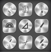Education set. Vector round and square steel buttons.