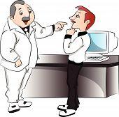 Vector Of Boss Blaming His Employee.