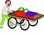 Vector Of Vendor Pushing Vegetable Cart.