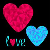 Blue And Pink Hearts. Polygonal Effect. Love Card. Black Backgro