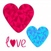 Blue And Pink Hearts. Polygonal Effect. Love Card.