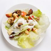 Top view of a traditional Waldorf Salad with lettuce, apple,grapes,walnuts,and celery sticks, topped with a salad dressing of yoghurt with cream, salt, pepper and walnut oil.
