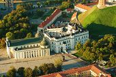 foto of gothic  - Aerial view of Vilnius, Lithuania. Gothic Upper Castle. Cathedral and Palace of the Grand Dukes of Lithuania.