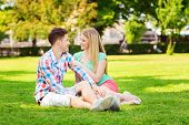 holidays, vacation, love and friendship concept - smiling couple sitting on grass and talking in park
