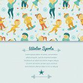 Winter Sports background with children, vector illustration