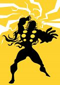 picture of thor  - Thor Black Silhouette of a Man with Lightning Bolts Yellow Background vector illustration - JPG