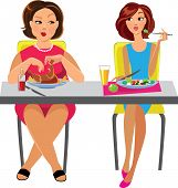 two women sitting at the table and eat different dishes