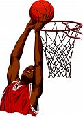 Vector Of Basketball Player In Action.