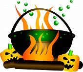 Halloween Theme Of A Bubbling Witch Cauldron.