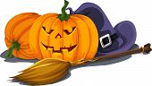 Vector Of Halloween Pumpkin With Witch's Hat And Broomstick.