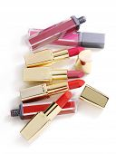 lipsticks on white